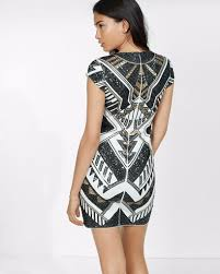 New Express Deco Black Silver Sequin Stretch Sheath Clubbing Party Dress Xs
