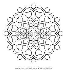 Easy Mandala Coloring Page Simple Mandalas Stock Illustration