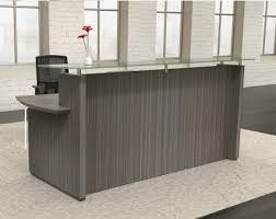 Mayline Sterling STG33 Modern Reception Desk with Glass Transaction Counter