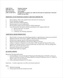 Clinical Assistant Jobs Sample Medical Assistant Job Description 8 Examples In Pdf