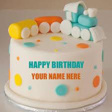 Write Name On Cute Baby Train Birthday Cake For Baby