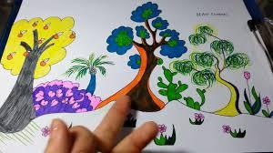 Vẽ vườn cây sắc màu trong mơ/Draw a colorful garden for baby - YouTube
