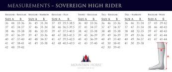 Mountain Horse Sovereign Size Chart Mountain Horse Sovereign High Rider Boots
