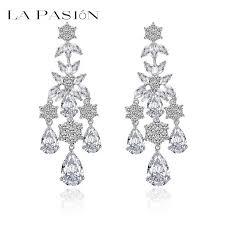2017 heavy weight chandelier earrings 18k white gold plated luxury for incredible household cz chandelier earrings plan