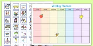 Weekly Timetable Planner Toddler And Young Children Weekly Planner Baby Toddler
