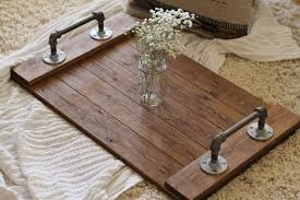 Decorative Serving Trays With Handles Dining Room Decorative Rustic Industrial Wooden Serving Tray Design 8
