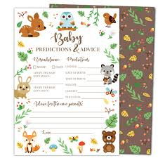 Gooji Baby Shower Prediction And Advice Card Games 50 Pack Woodland Animal Themed Play Charts High Quality Cardstock Rich Colors And Graphics