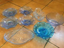 vintage blue glass bowls tray various shapes and sizes shabby chic wedding decor