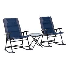 outsunny 3pc folding outdoor rocking