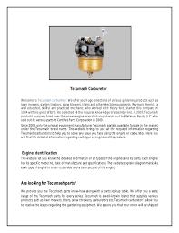 Tecumseh Carburetor Parts and Troubleshooting manual