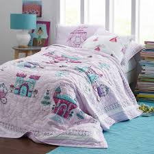 CHAUSUB Princess Palace Handmade Patchwork Quilt Set 3PCS Cotton ... & CHAUSUB Princess Palace Handmade Patchwork Quilt Set 3PCS Cotton Quilts  Kids Quilted Bedspread Coverlet Bed Cover Adamdwight.com