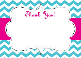 Blank Thank You Notes Turquoise Pink Chevron Print Thank You Card Printable Or