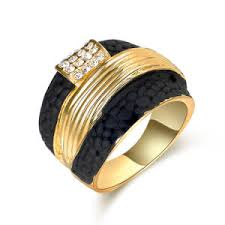 custom fashion gold jewelry 2 tone ring black and gold women ring