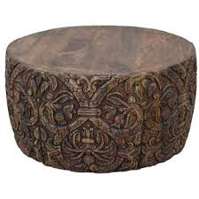romer carved solid mango wood timber round coffee table