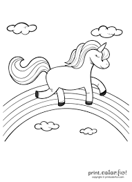 Happy Unicorn Over The Rainbow Coloring Page Print Color Fun