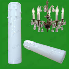 8x white drip candle wax effect chandelier light bulb cover sleeve 150mm x 32mm