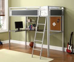 image of kids metal bunk bed with desk