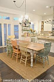 farmhouse table and mismatched chairs painted with sweet pickins milk paint