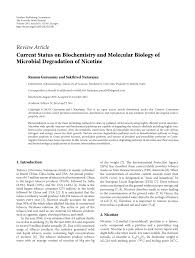 current status on biochemistry and molecular biology of microbial  current status on biochemistry and molecular biology of microbial degradation of nicotine pdf available
