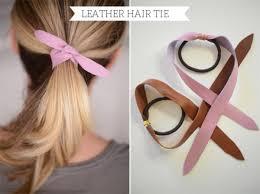 diy leather hair tie