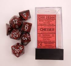 Chessex Dice Set: Silver Volcano Speckled Poly 7-dice Cube