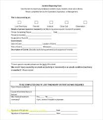 Injury Incident Report Template 1 New Company Driver