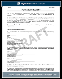 Pet Sitting Instructions Template Pet Care Agreement Create A Free Pet Care Agreement Form