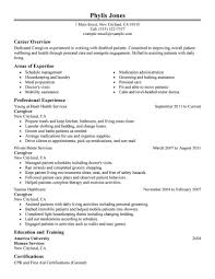 Cover Letter Resume Sample For Caregiver Resume Examples For