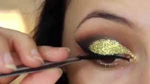 best makeup gold glitter cut crease smokey eye new years eve makeup tutorial you