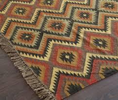 rugsville diamond pattern brown jute wool kilims 13645 rug 13645