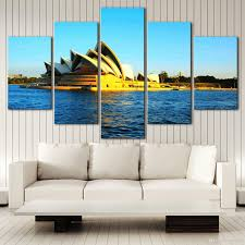 no frame city landscape sydney hd canvas print 5 panel wall art oil painting textured abstract pictures decor living room decoration home decor home