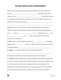 Apartment Sublease Template Free Texas Sublease Agreement Form Pdf Word Eforms Free