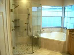 small corner tub interior white bathtub connected by glass shower room and window modern freestanding in