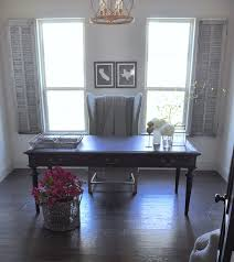 home office black desk. Sophisticated Home Office With Black Desk And Vintage Gray Shutt Pinterest