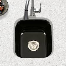 undermount bar sink. Houzer Porcela Collection Porcelain Enamel Steel Undermount Square Bar Sink In Black Color, 15- H