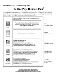 Downloadable Business Plan One Pager Template Word Under Fontanacountryinn Com