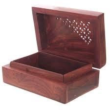 carved sheesham wood trinket box