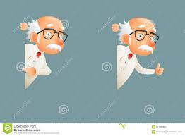 Old Wise Scientist Character Look Out Corner Icons Cartoon Design