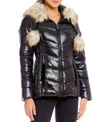 gianni bini quilted puffer womens fitted puffer jacket faux fur pom pom black