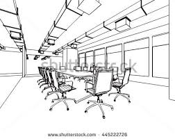 art drawing office. interior outline sketch drawing perspective of a space office art t