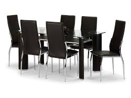 julian bowen flat packed boston 150cm glass and dark brown faux leather dining table