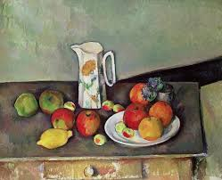 paul painting still life with milkjug and fruit by paul cezanne