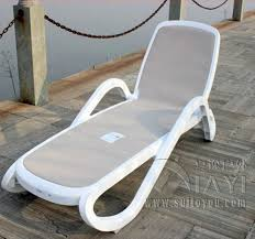 plastic white color outdoor furniture beach chair lounger for swimming pool patio furniture 81232