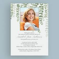 Memorial Announcement Cards Green Leaves Funeral Memorial Announcement Cards From 1 00