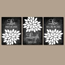wall art ideas design live moment black white wall art laugh and love beyon words decoration rectangle boards designed three pieces flower black white  on black white wall art deco with wall art ideas design live moment black white wall art laugh and