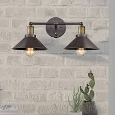 Oil Rubbed Bronze Crystal Vanity Light Industrial Oil Rubbed Bronze 2 Light Hardwired And Plug In Bath Wall Sconces