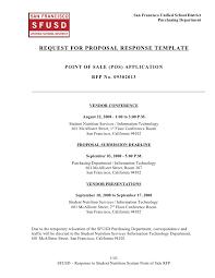 Response To Rfp Sample Sns Pos System Rfp Response Template
