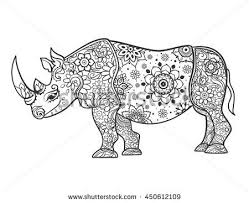 beautiful ilration rhinocero for design print clothing stickers tattoos coloring book with rhino hand drawn ilration