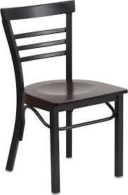 hercules series black ladder back metal restaurant chair walnut wood seat xu dg6q6b1lad