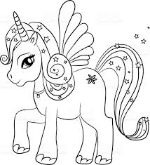 Small Picture Unicorn Coloring Page For Kids stock vector art 487495686 iStock